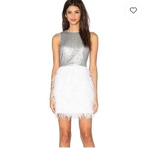 White feather & sequin party dress